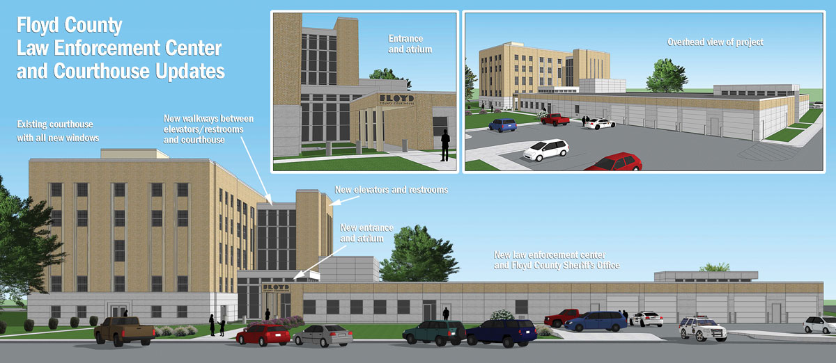 Floyd County courthouse work nears as LEC construction concludes
