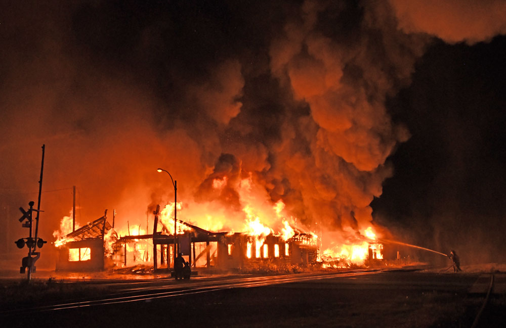 Massive blaze destroys lumber business in Greene