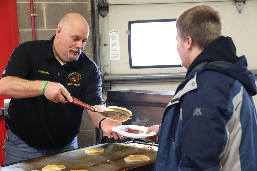 Pancake breakfast fundraiser a yearly hit for Charles City Fire Department