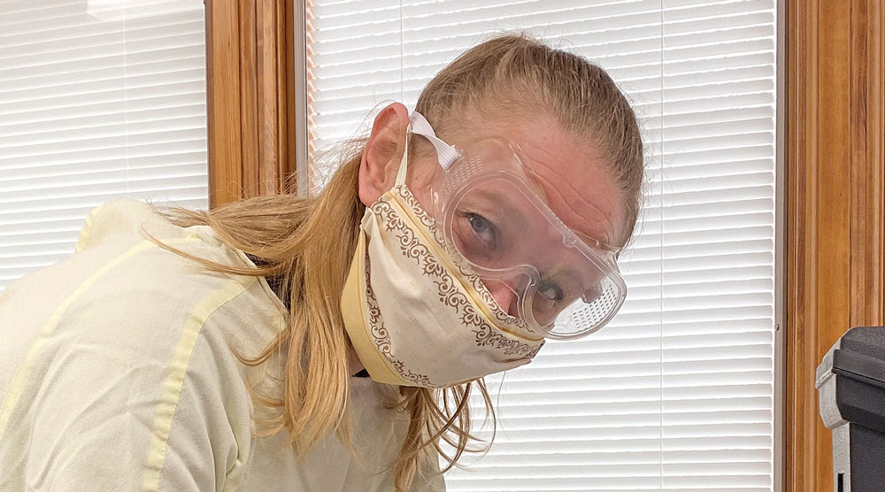 Local stitchers put together masks for local nurses