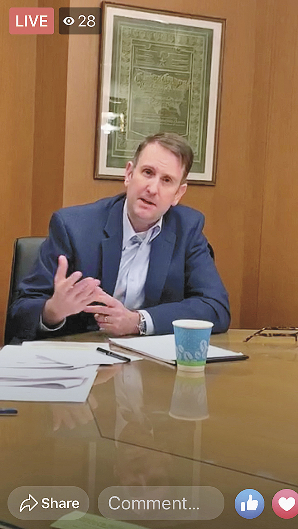 Prichard addresses small business owners in Facebook Live chat