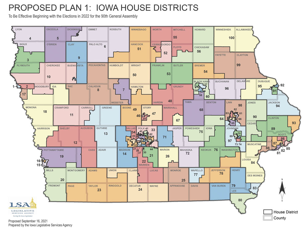 Proposed Iowa legislative map would divide Floyd County into two House districts